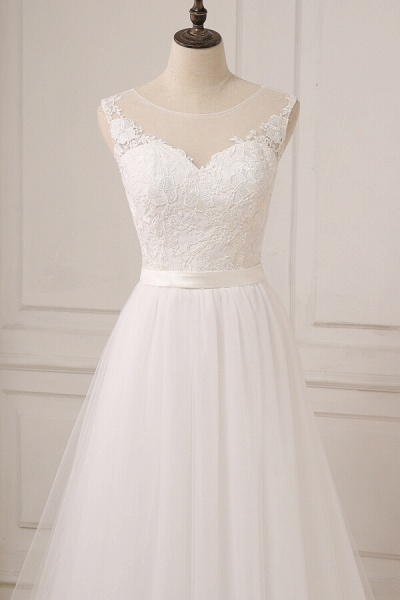Graceful Lace Tulle A-line Wedding Dress_5