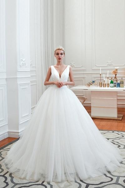 Elegant Lace-up Ruffle Tulle A-line Wedding Dress_6