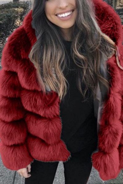 Women's Daily Winter Hooded Faux Fur Coat_3