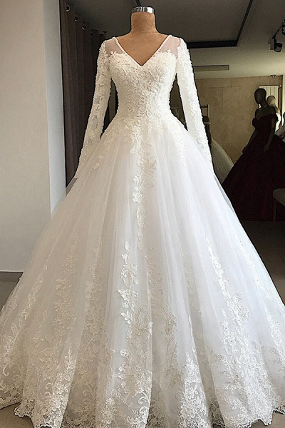 Gorgeous Long Sleeve Appliques Tulle Wedding Dress_1