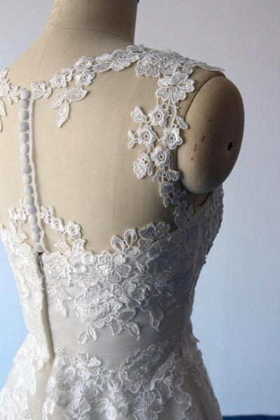 Illusion Lace Tulle A-Line Mini Wedding Dress_7