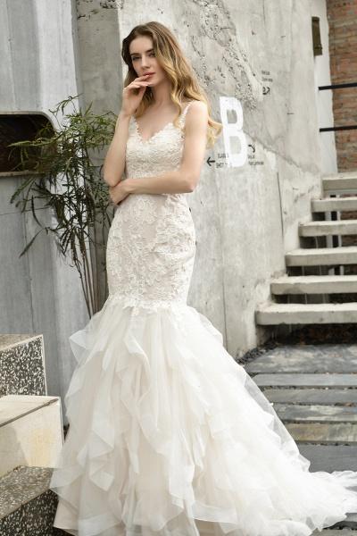 Mermiad Sweetheart Floral Lace Floor Length Wedding Dress_13