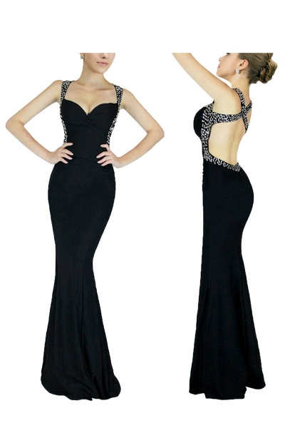 Graceful Straps Spandex Mermaid Evening Dress_4