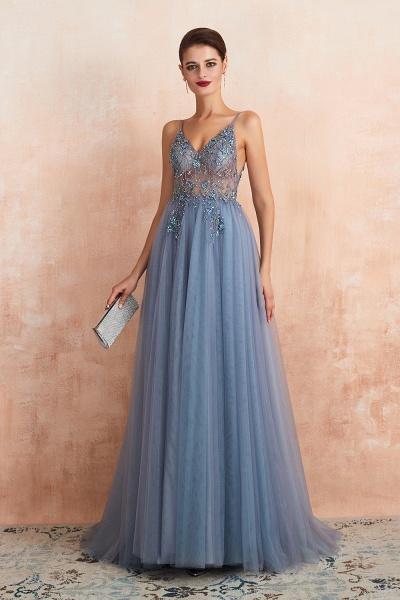 Best V-neck Tulle A-line Prom Dress_26