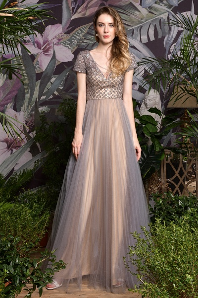 Stunning Short Sleeves Squared Sequined Tulle Prom Dress_5