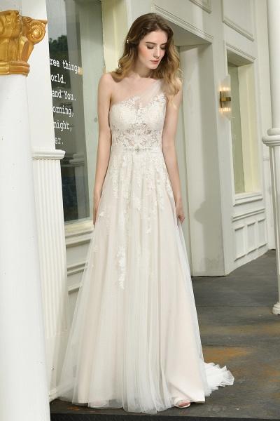 One Shoulder Lace Tulle Backless Wedding Dresses_8