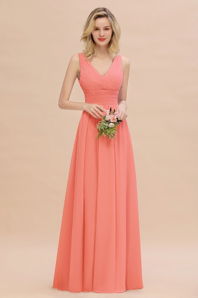 BM0752 Elegant A-line V-Neck Ruffles Long Bridesmaid Dress_45
