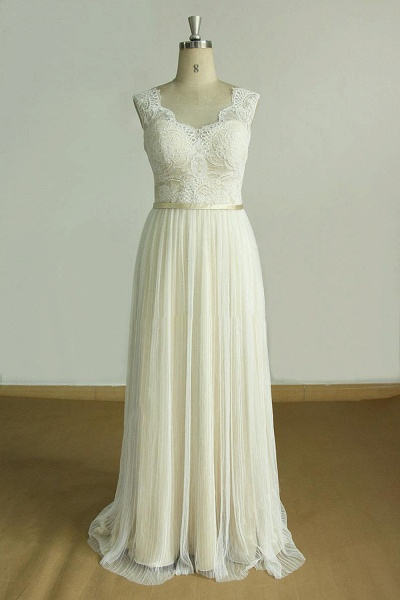 Affordable Lace Tulle A-line Wedding Dress_1