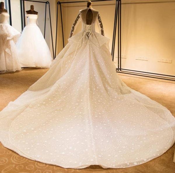 Long Sleeve Beading Lace-up Tulle Wedding Dress_3