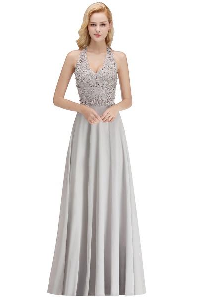 Halter Composite Emulation Silk A-line Floor Length Bridesmaid Dress_5