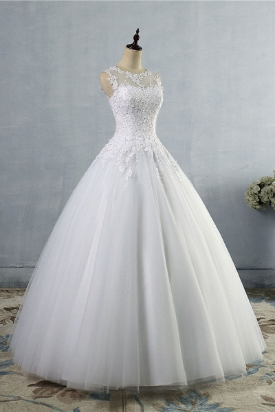 Illusion Appliques Tulle A-line Wedding Dress_4