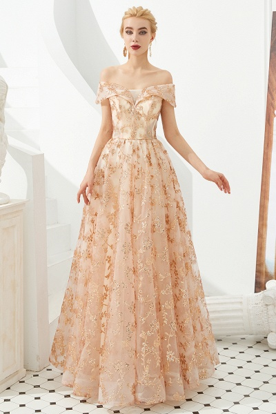 Graceful Off-the-shoulder Tulle A-line Prom Dress_3