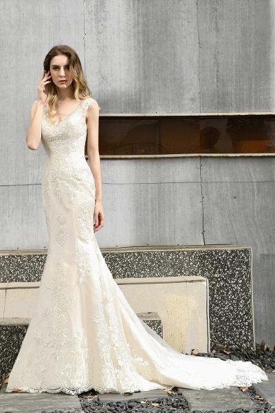 Straps Lace Backless Floor Length Wedding Dresses_5