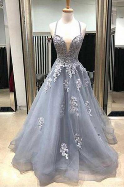 Amazing Spaghetti Straps Appliques A-line Prom Dress_2