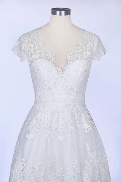 Best Cap Sleeve V-neck Sweep Train Wedding Dress_6