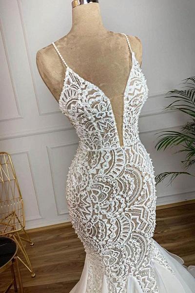 Gorgeous Beaded Lace Organza Mermaid Wedding Dress_3