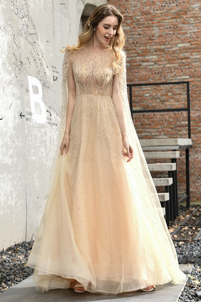 Luxury Shawl Sequined A-line Long Prom Dress_18