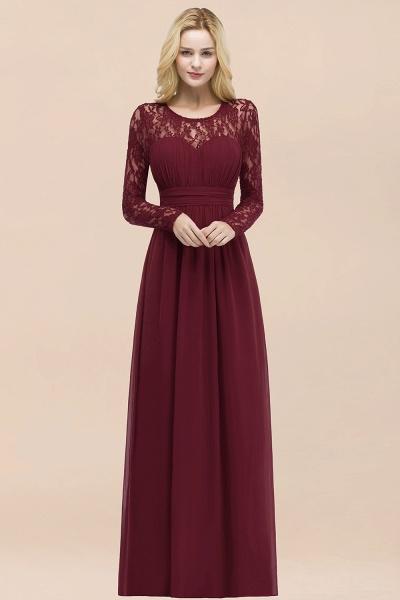 Elegant A-Line Chiffon Jewel Long Sleeves Ruffles Floor-Length Bridesmaid Dresses_51