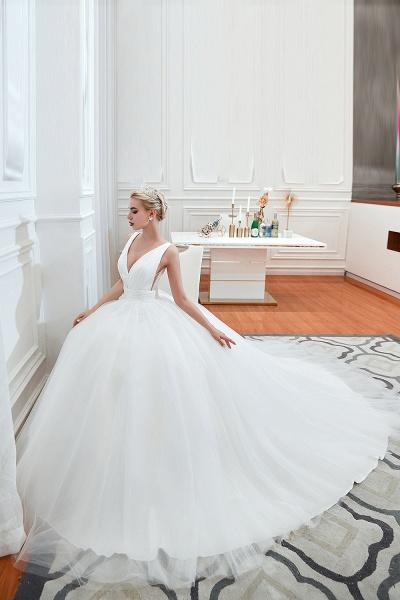 Elegant Lace-up Ruffle Tulle A-line Wedding Dress_7