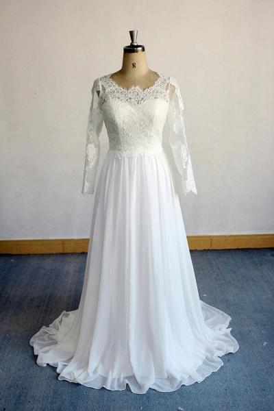 Open Back Long Sleeve Lace Chiffon Wedding Dress_1