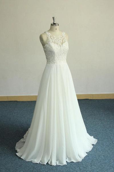 Amazing Appliques Chiffon A-line Wedding Dress_1