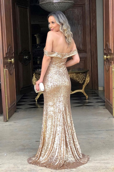 Off the Shoulder Front Slit Mermaid Sequined Prom Dresses | Sparkly Long Evening Dresses_2