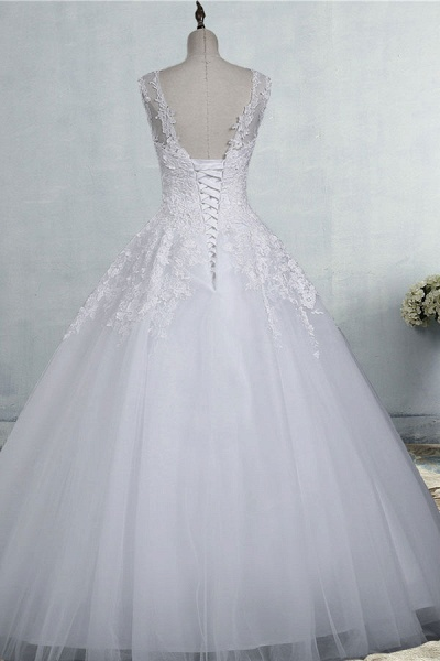 Illusion Appliques Tulle A-line Wedding Dress_3