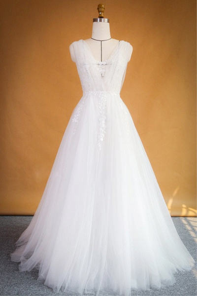 Ruffle Applqiues Tulle A-line Wedding Dress_1