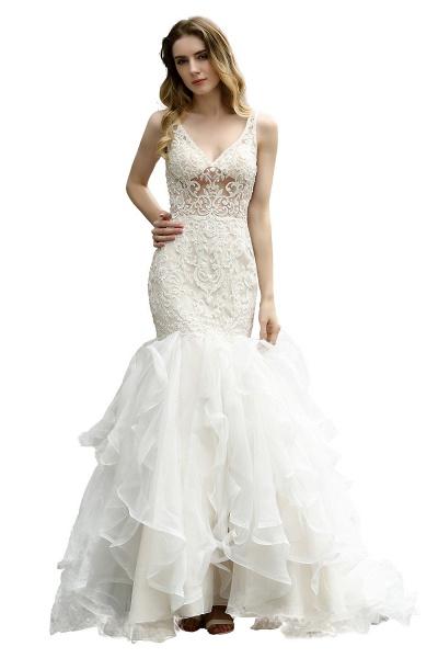 Mermaid V-neck Lace Organza Ruffles Wedding Dress_5
