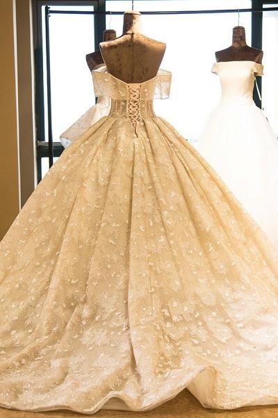 Amazing Strapless Lace-up Satin Wedding Dress_3