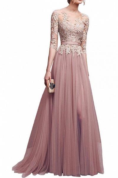 Sleek Jewel Tulle A-line Evening Dress_1