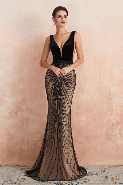 Exquisite V-neck Lace Mermaid Prom Dress_2