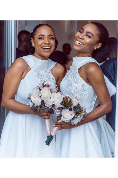 Cute Applqiues Satin A-line Bridesmaid Dress_8