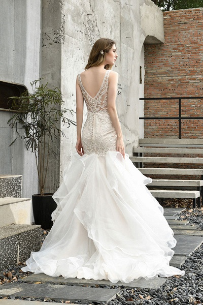 Graceful V-neck Appliques Mermaid Wedding Dress_3