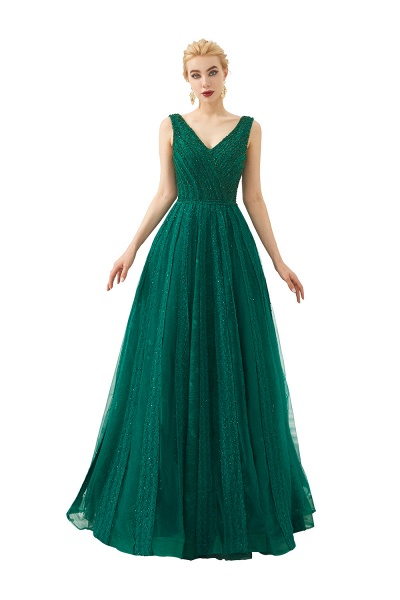 Awesome V-neck Tulle A-line Prom Dress_3