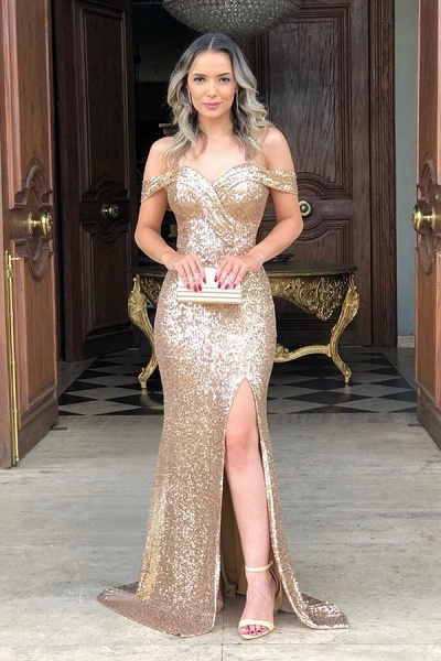 Off the Shoulder Front Slit Mermaid Sequined Prom Dresses | Sparkly Long Evening Dresses_1