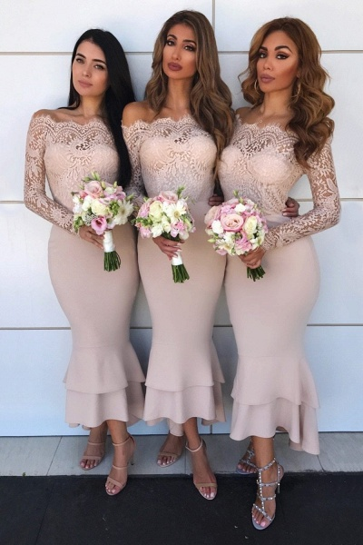 Graceful Lace Long Sleeve Mermaid Bridesmaid Dress_3