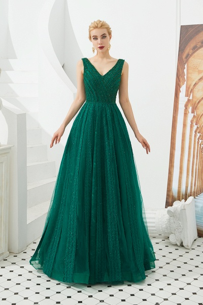 Awesome V-neck Tulle A-line Prom Dress_13