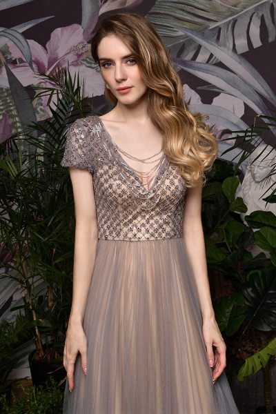 Stunning Short Sleeves Squared Sequined Tulle Prom Dress_13