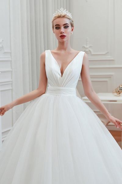 Elegant Lace-up Ruffle Tulle A-line Wedding Dress_9