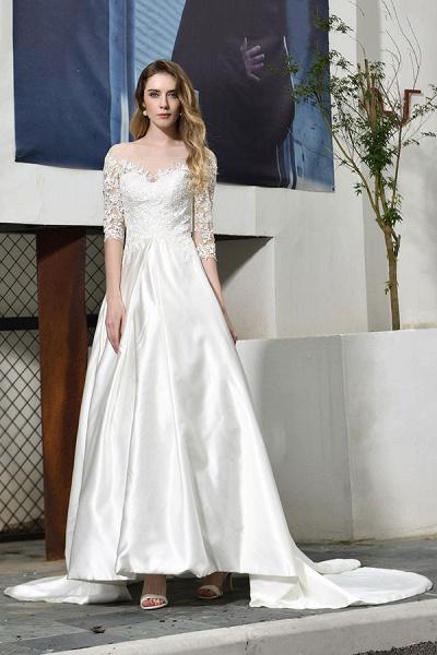 Elegant Lace-up A-Line Applique Satin Wedding Dress_4