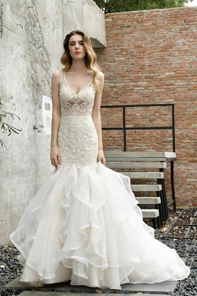 Mermaid V-neck Lace Organza Ruffles Wedding Dress_9