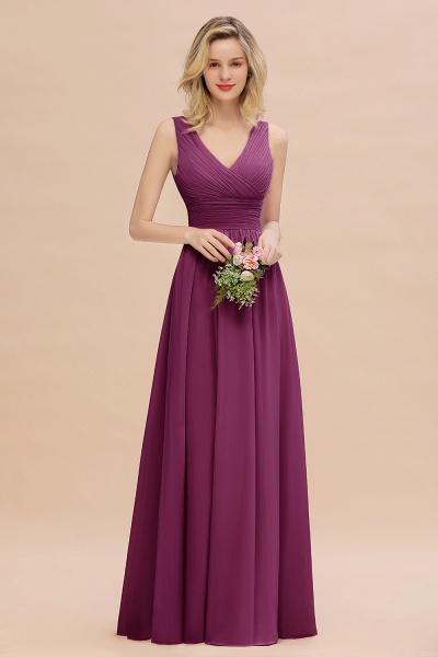 BM0752 Elegant A-line V-Neck Ruffles Long Bridesmaid Dress_42