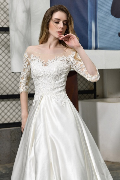 Lace Half Sleeves V Neck Sheer Tulle Wedding Dress_9
