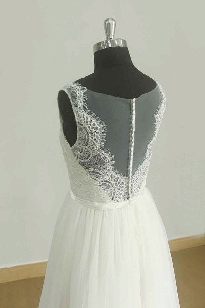 Chic Lace Tulle A-line Floor Length Wedding Dress_3
