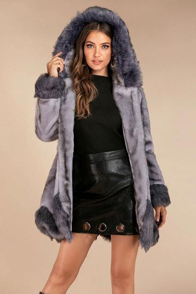 Hooded Asymmetric Hem Color Block Long Sleeve Coats
