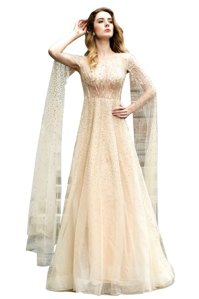 Luxury Shawl Sequined A-line Long Prom Dress_6