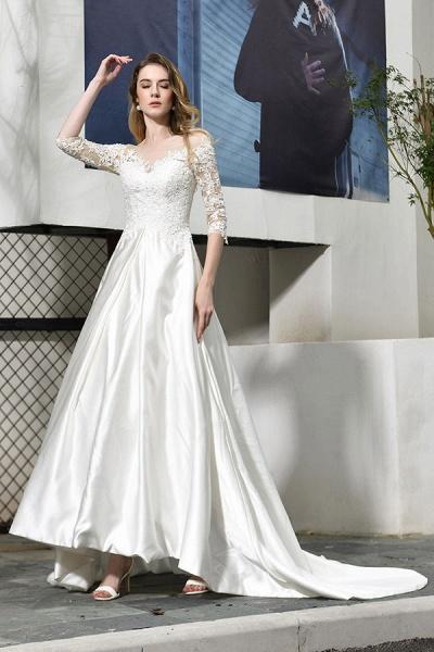 Elegant Lace-up A-Line Applique Satin Wedding Dress_7
