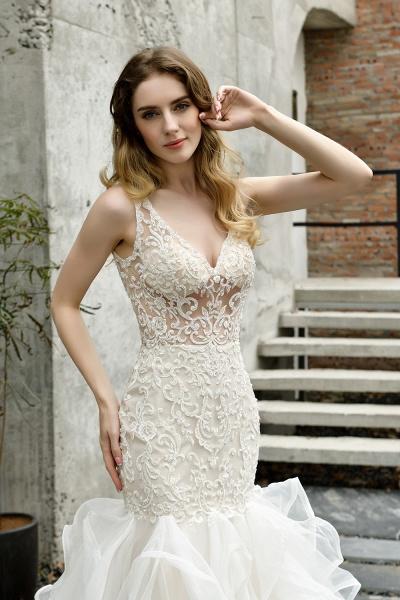 Mermaid V-neck Lace Organza Ruffles Wedding Dress_12