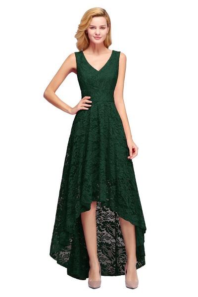 A-line V-neck Sleeveless Burgundy Hi-lo Lace Dresses_5